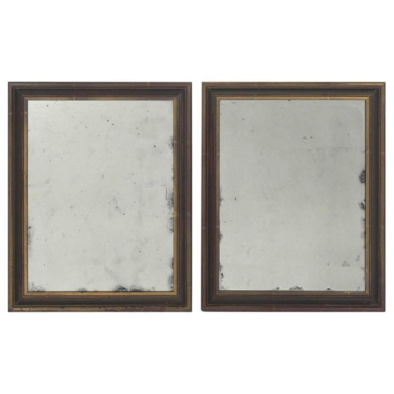 Pair of Petite Giltwood Antiqued Mirrors