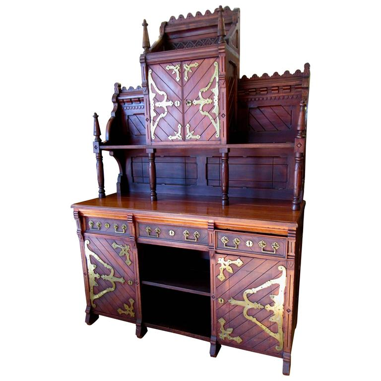 Victorian Gothic Revival Buffet in the Manner of Architect E. Edwards Ficken 1