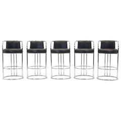 Milo Baughman for Thayer Coggin Chrome and Black Bar Stools, Five Total, Signed