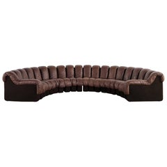 De Sede Ds 600 Sofa by Ueli Berger and Riva 1972, Chocolate Leather 20 Elements