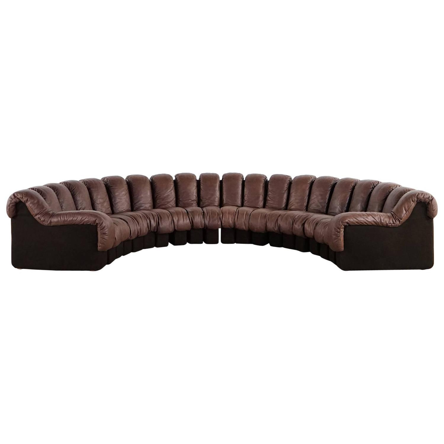 De Sede Ds 600 Sofa By Ueli Berger And Riva 1972 Chocolate Leather 20 Elements At 1stdibs
