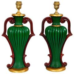 Pair of Italian Regency Ceramic Lamps in Green Gold and Red Color, 1970s