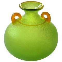Good Quality and Vibrant Murano Signed Franco Moretti Acid-Green Scavo Vase
