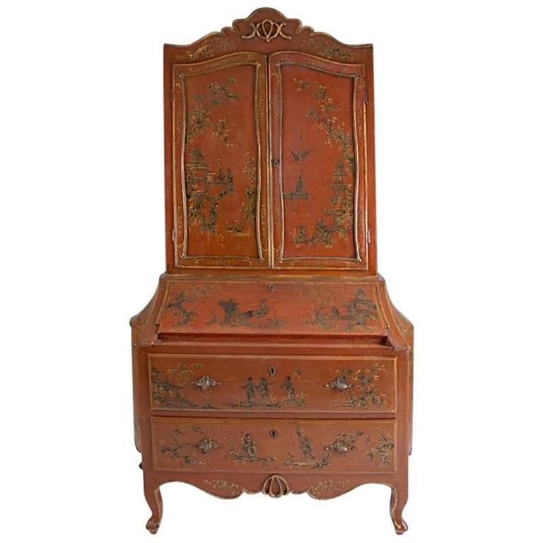 Italian Rococo Style Chinoiserie Secretary Bookcase Cabinet, 19th Century