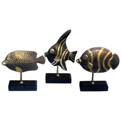 Delightful Set of Three 1960s Bronze Tropical Fish on Stands