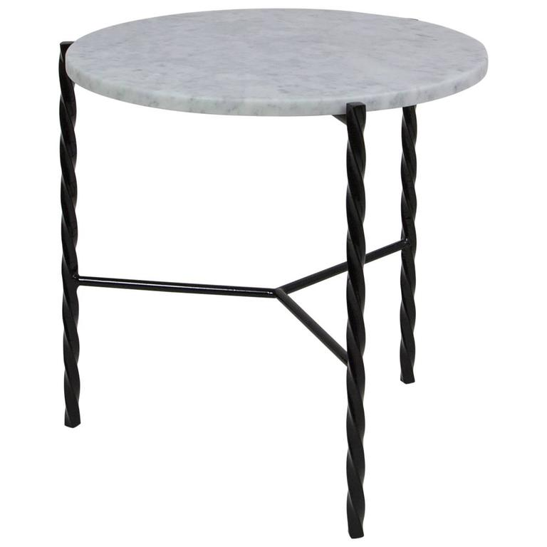 Customizable Von Iron Side Table from Souda, Carrara Marble Top, Made to Order For Sale