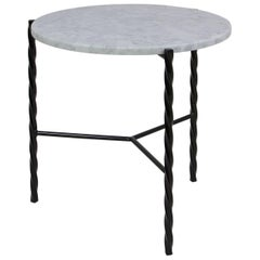 Customizable Von Iron Side Table from Souda, Carrara Marble Top, Made to Order