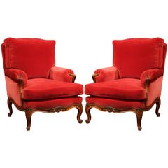 Pair of 19th Century French Louis XV Carved Walnut Armchairs with Red Velvet
