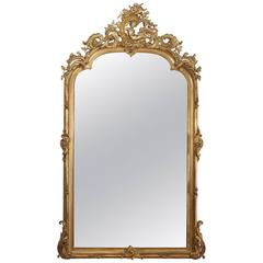 Finest Quality Antique French Gold Leaf Mirror with Beveled Glass, Cherub