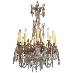 Antique French Crystal and Bronze Twelve-Light Chandelier
