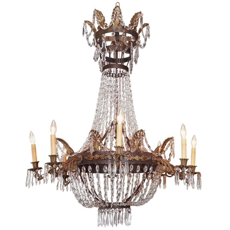 Antique French Empire Crystal and Bronze Eight-Light Chandelier 1