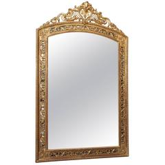 Antique French Louis XVI Gold Leaf Mirror in Florentine Style