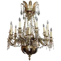 Antique French Empire Style Bronze Doré and Crystal Eighteen-Light Chandelier