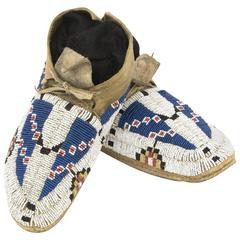 Antique Native American Beaded Child's Moccasins, Cheyenne, 19th Century