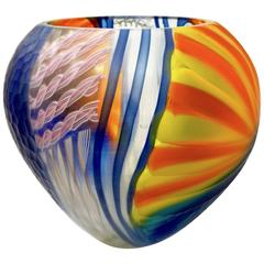 Andrea Zilio Italian Blue Yellow Orange White Murano Glass Round Vase