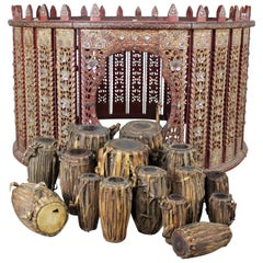 Antique Burmese Orchestra Hsain Wain Drum/Percussion Circle Carved Panel Table