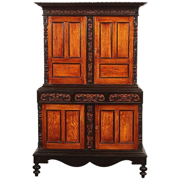 19th Century British Colonial Satin Wood and Ebony Cabinet