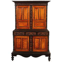 19th Century British Colonial Satin Wood and Ebony Cabinet