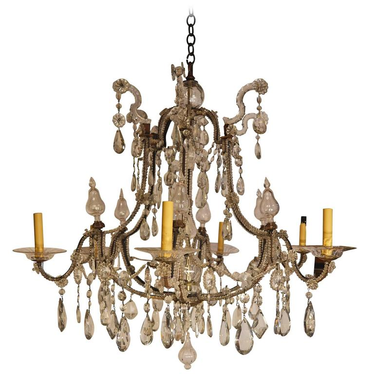 Italian Crystal and Iron Chandelier