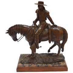 Patinated Equestrian Bronze Sculpture
