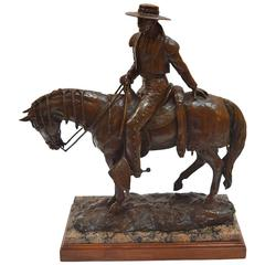 Patinated Equestrian Bronze Sculpture