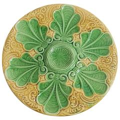 19th Yellow and Green Majolica Oyster Plate