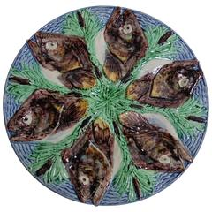 19th Century Majolica Palissy Fish's Heads Oyster Plate Thomas Sergent