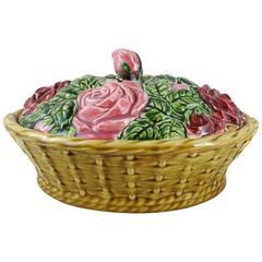 French Majolica Roses Basket Sarreguemines