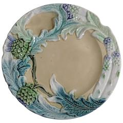 19th Majolica Asparagus and Artichoke Plate Fives Lille