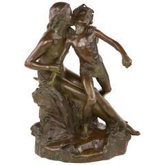 "Art Nouveau ""the Source of the Stream"" Bronze Sculpture"