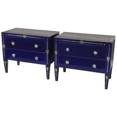Pair of Lapis Blue Venetian Mirrored Commodes or Nightstands
