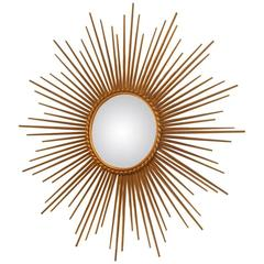 Mirror Gold Metal Sculpture Sun, 1950