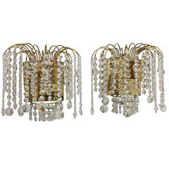Pair of Palwa Crystal Glass Waterfall Sconces