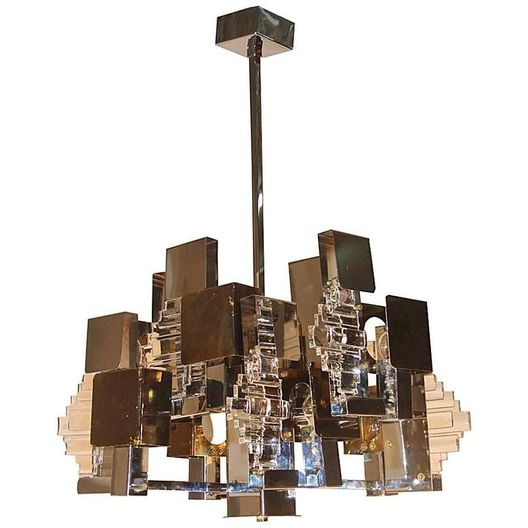 Workstead lodge chandelier five in oxidized oak and blackened steel modernist chandelier 1970 steel and gilded parts aloadofball Image collections