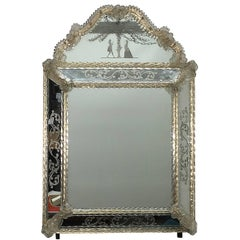Murano Glass Mirror with Edged Branches Landscape