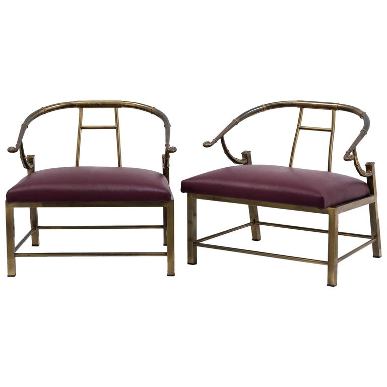 Pair of Mastercraft Designed Brass Framed Chairs, 1970s