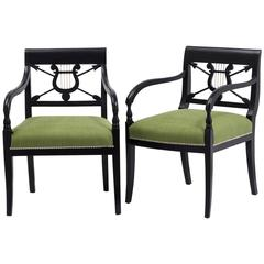 Pair of Ebonised Birch Empire Upholstered Armchairs, 1830