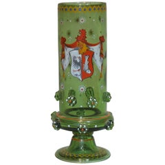Bohemian Historismus Armorial Footed Beaker with Applied Prunts, circa 1880