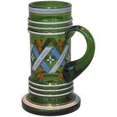 Bohemian Historismus Green Glass Stein, circa 1880