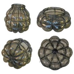 Lot of Two Vintage Murano Style Blown Smoked Glass Caged Lantern Shades