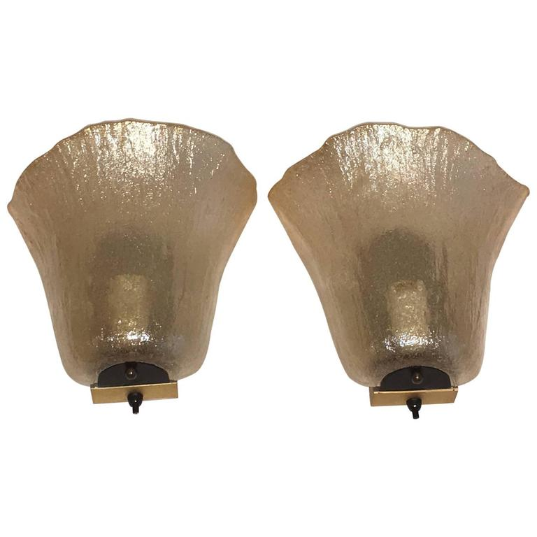 Pair of Peill & Putzler Amber Calyx Sconces