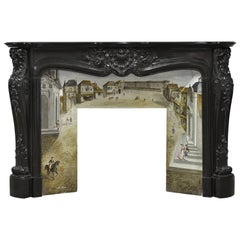 Beautiful, Rare Black Marble French Louis XV Fireplace with Original Insert