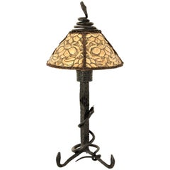 Antoni Gaudí Style Art Nouveau Wrought Iron and Brass Repoussé Table Lamp
