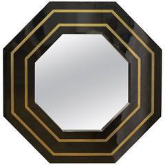 French Art Deco Octagonal Wall Mirror circa 1950s