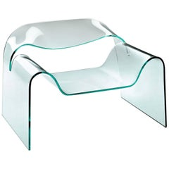 Air Armchair Casted in One Slab of Curved Clear Glass