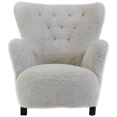 1940s Danish Wingback Lounge Chair in Natural White Sheep Skin