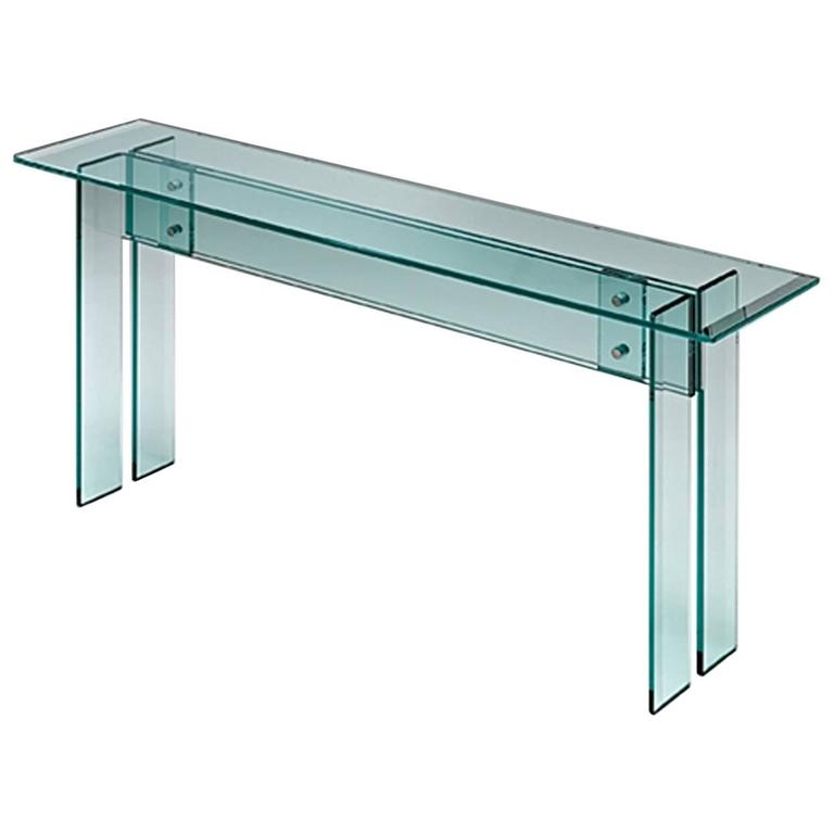 Straight Console with Bevelled Clear Glass Top