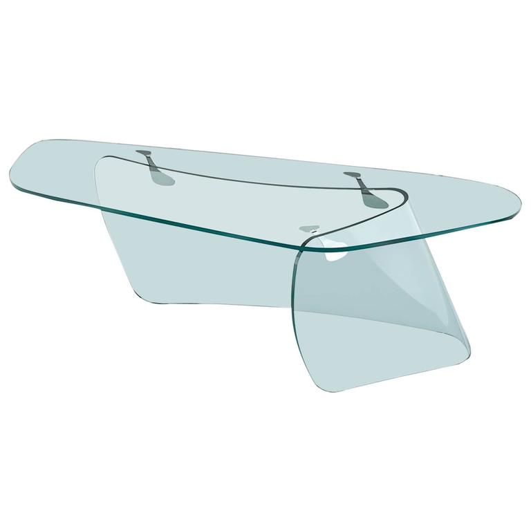 Absolut Desk with Curved Glass and Clear Glass Top For Sale