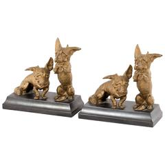 Gilt Bronze Mounted Corgi Bookends