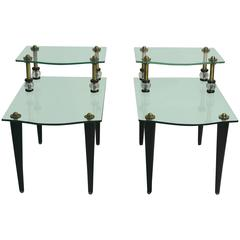 Exceptional Pair of Mirrored Two-Tier Side Tables with Brass Accents